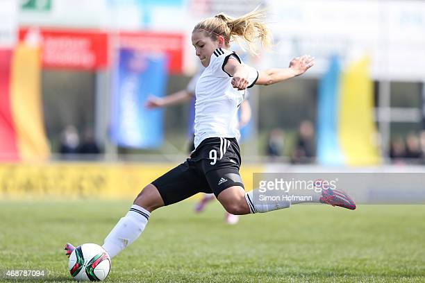 Nina Ehegoetz of Germany controls the ball during the Under19 Women's Elite Round match between Germany and Ukraine on April 6 2015 in Schwetzingen...