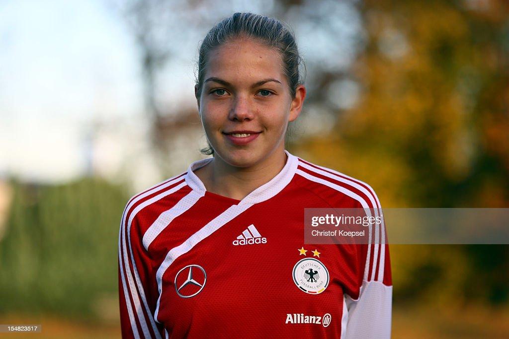 Nina Ehegoetz poses during the Germany Women's U17 team presentation at Sport School Wedau on October 27, 2012 in Duisburg, Germany.