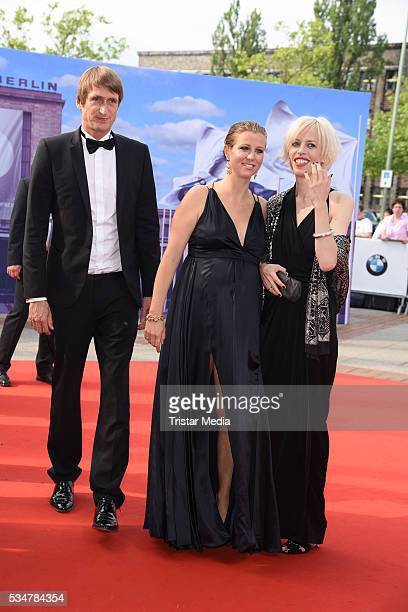 Nina Eichinger and boyfriend Fritz Meinikat and Katja Eichinger attend the Lola German Film Award 2016 Red Carpet Arrivals on May 27 2016 in Berlin...