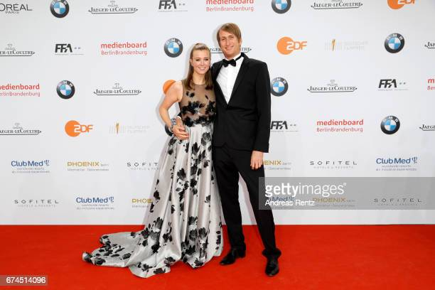 Nina Eichinger and her partner Fritz Meinikat attend the Lola German Film Award red carpet at Messe Berlin on April 28 2017 in Berlin Germany