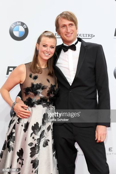 Nina Eichinger and her partner Fritz Meinikat during the Lola German Film Award red carpet arrivals at Messe Berlin on April 28 2017 in Berlin Germany