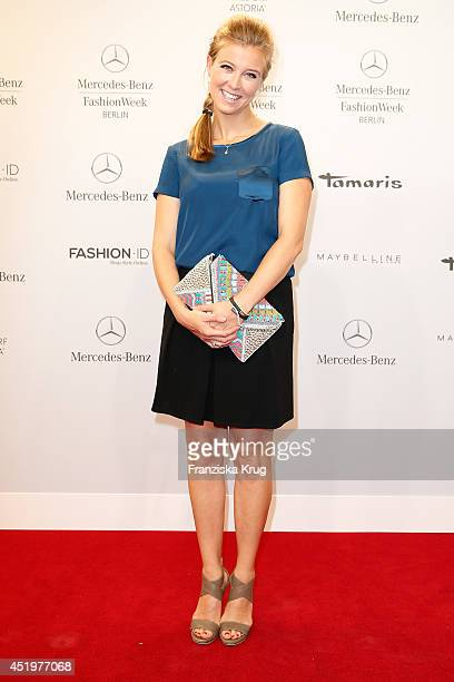 Nina Eichinger attends the Marc Cain show during the MercedesBenz Fashion Week Spring/Summer 2015 at Erika Hess Eisstadion on July 10 2014 in Berlin...