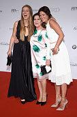 Nina Eichinger Hannelore Elsner and Jessica Schwarz arrive for the German Film Award 2015 Lola at Messe Berlin on June 19 2015 in Berlin Germany
