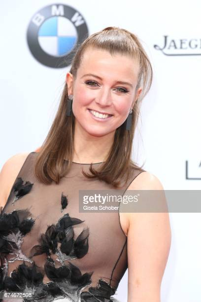 Nina Eichinger wearing jewelry by Thomas Jirgens Juwelenschmiede during the Lola German Film Award red carpet arrivals at Messe Berlin on April 28...