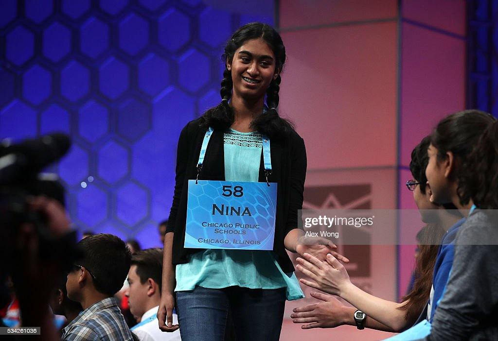 Nina Fonseca of Chicago, Illinois, celebrates with other spellers after she correctly spelled her word in round three of the 2016 Scripps National Spelling Bee May 25, 2016 in National Harbor, Maryland. Students from across the country gathered to compete for top honor of the annual spelling championship.