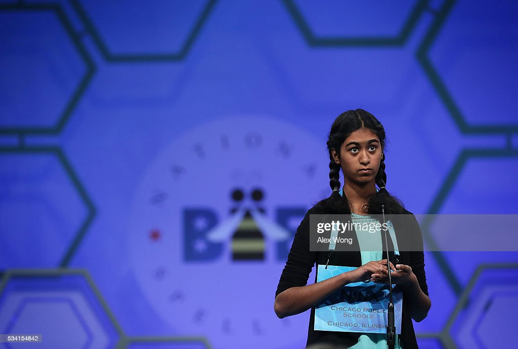 Nina Fonseca of Chicago, Illinois, participates in round two of the 2016 Scripps National Spelling Bee May 25, 2016 in National Harbor, Maryland. Students from across the country gathered to compete for top honor of the annual spelling championship.