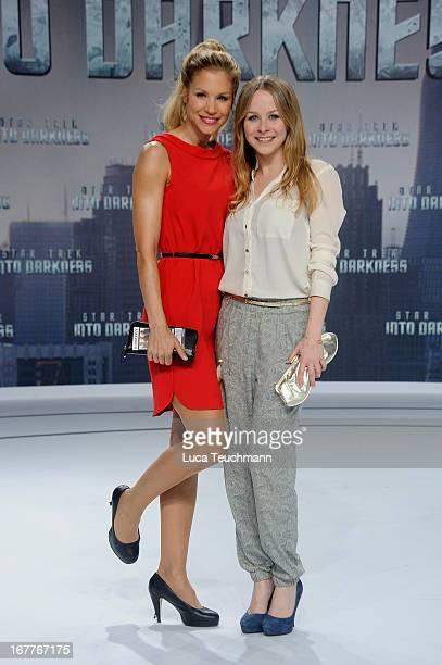 Nina Friederike Gnaedig and Jasmin Schwiers attend the 'Star Trek Into Darkness' German Premiere at CineStar on April 29 2013 in Berlin Germany