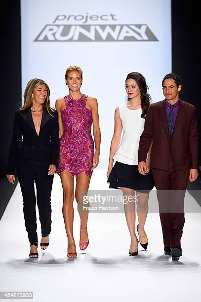 Nina Garcia Heidi Klum Emmy Rossum and Zac Posen walk the runway at the Project Runway fashion show during MercedesBenz Fashion Week Spring 2015 at...