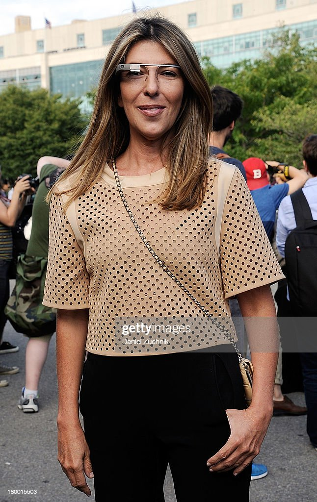 <a gi-track='captionPersonalityLinkClicked' href=/galleries/search?phrase=Nina+Garcia&family=editorial&specificpeople=592222 ng-click='$event.stopPropagation()'>Nina Garcia</a> is seen wearing Google Glass outside the Alexander Wang show on September 7, 2013 in New York City.