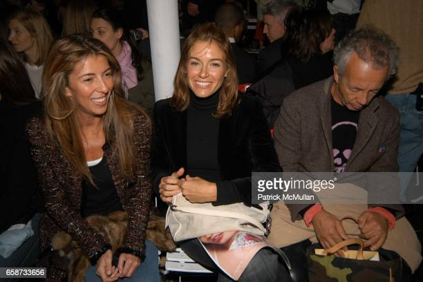 Nina Garcia Kelly Bensimon and Gilles Bensimon attend the front row at Diane von Furstenberg Fashion Show at DVF Studios on February 8 2004 in New...