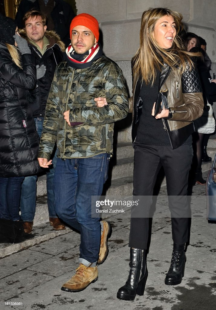 <a gi-track='captionPersonalityLinkClicked' href=/galleries/search?phrase=Nina+Garcia&family=editorial&specificpeople=592222 ng-click='$event.stopPropagation()'>Nina Garcia</a> (R) seen arriving to the Alexander Wang show on February 9, 2013 in New York City.