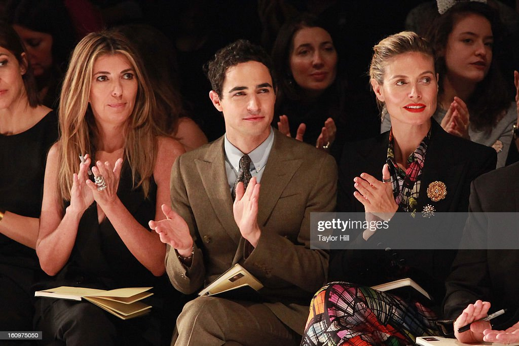 <a gi-track='captionPersonalityLinkClicked' href=/galleries/search?phrase=Nina+Garcia&family=editorial&specificpeople=592222 ng-click='$event.stopPropagation()'>Nina Garcia</a>, Zac Posen, and <a gi-track='captionPersonalityLinkClicked' href=/galleries/search?phrase=Heidi+Klum&family=editorial&specificpeople=178954 ng-click='$event.stopPropagation()'>Heidi Klum</a> attend the Project Runway Fall 2013 Mercedes-Benz Fashion Show at The Theater at Lincoln Center on February 8, 2013 in New York City.