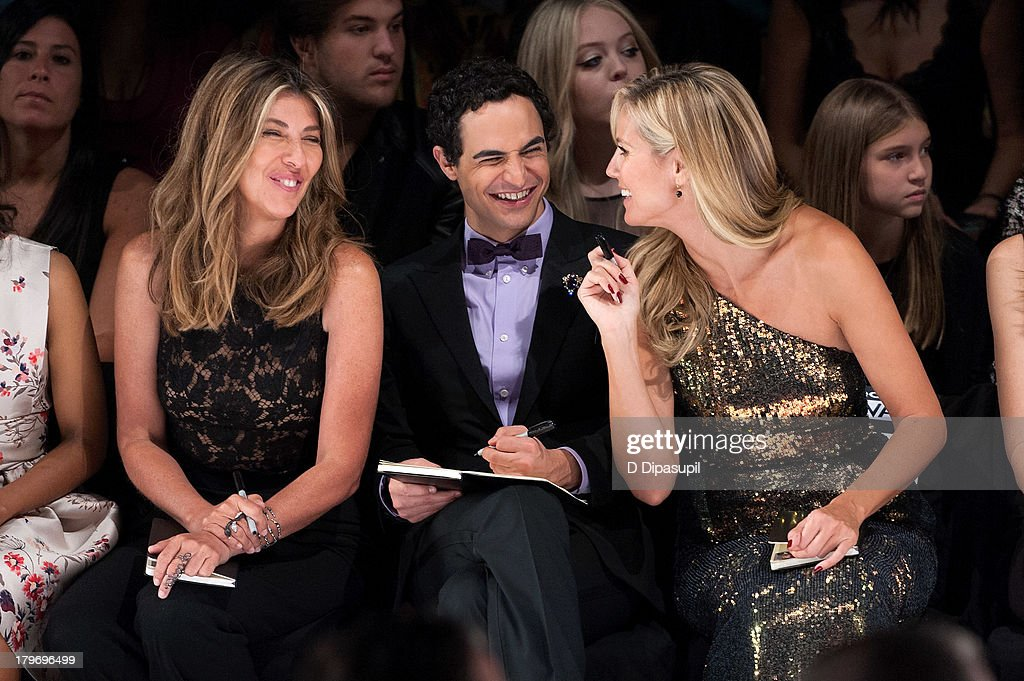 <a gi-track='captionPersonalityLinkClicked' href=/galleries/search?phrase=Nina+Garcia&family=editorial&specificpeople=592222 ng-click='$event.stopPropagation()'>Nina Garcia</a>, Zac Posen, and <a gi-track='captionPersonalityLinkClicked' href=/galleries/search?phrase=Heidi+Klum&family=editorial&specificpeople=178954 ng-click='$event.stopPropagation()'>Heidi Klum</a> attend the Project Runway Spring 2014 fashion show at The Theater at Lincoln Center on September 6, 2013 in New York City.