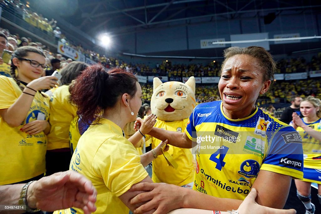 Nina Kanto of Metz celebrate at the end of the game during the french female handball league final between Metz and Fleury Les Aubrais on May 28, 2016 in Metz, France.
