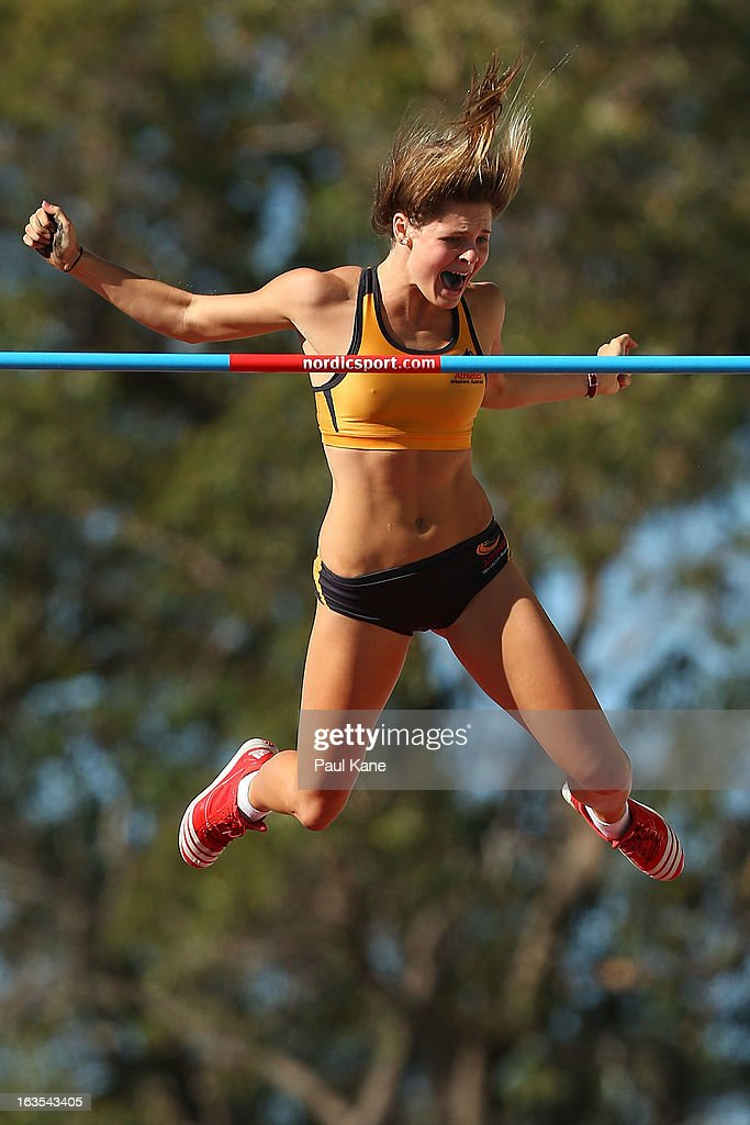 Nina Kennedy of Western Australia celebrates clearing 4.25mtrs in the Womens under 18 Pole Vault during day one of the Australian Junior Championships at the WA Athletics Stadium on March 12, 2013 in Perth, Australia.