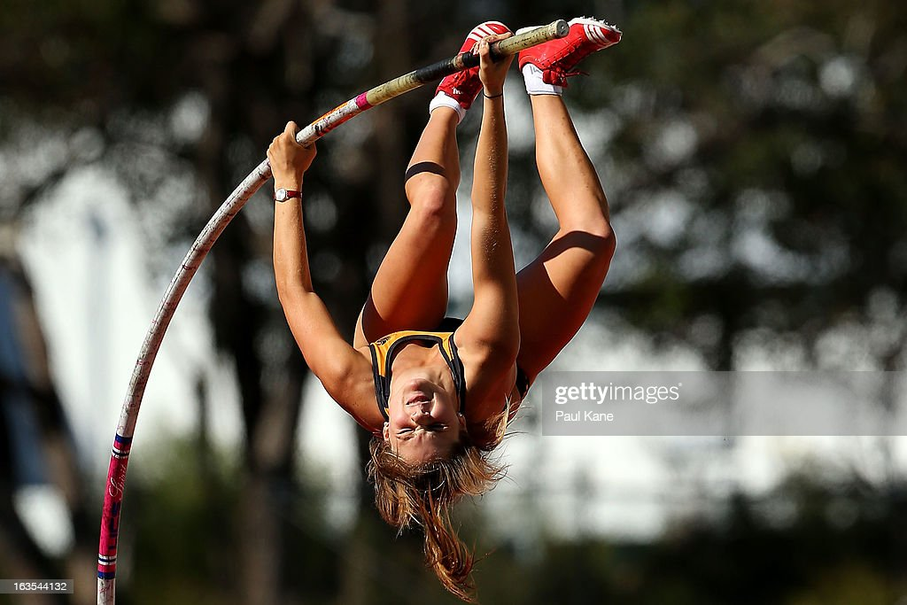 Nina Kennedy of Western Australia competes in the Womens under 18 Pole Vault during day one of the Australian Junior Championships at the WA Athletics Stadium on March 12, 2013 in Perth, Australia.
