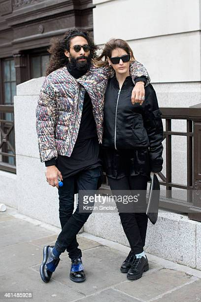 Nina Knezevic and Abdul on day 4 of London Collections Men on January 12 2015 in London England