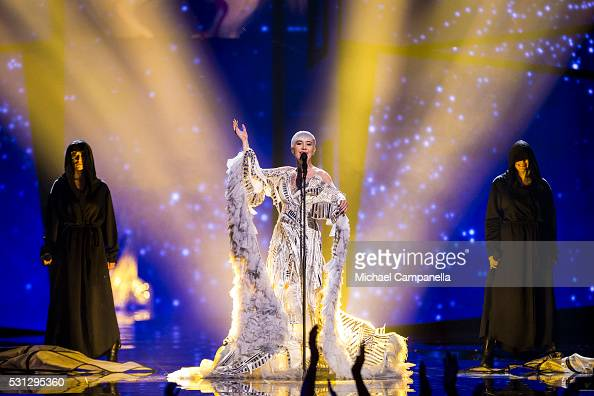 Nina Kraljic representing Croatia performs the song 'Lighthouse' during the final dress rehearsal of the 2016 Eurovision Song Contest at Ericsson...