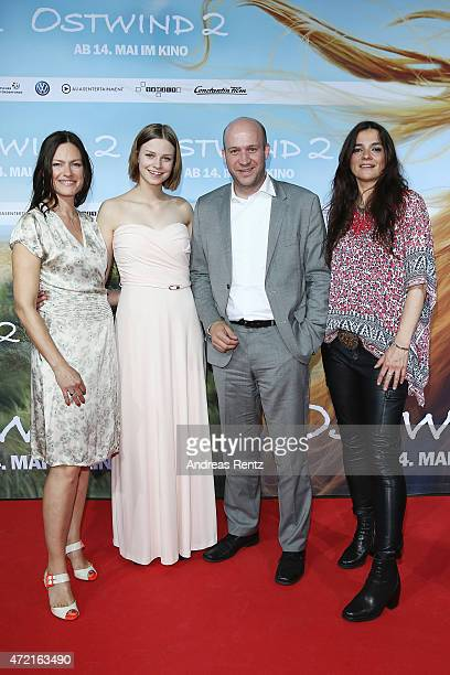 Nina Kronjaeger Hanna Binke Ingmar Jung and director Katja von Garnier attend the Frankfurt premiere of the film 'Ostwind 2' at Cinestar on May 4...