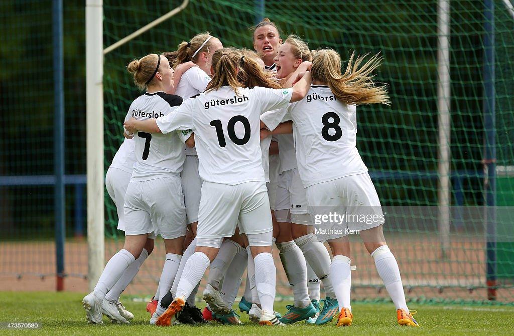 Nina Lange of Guetersloh jubilates with team mates after scoring the second goal during the U17 Girl's Bundesliga semi final first leg match between...