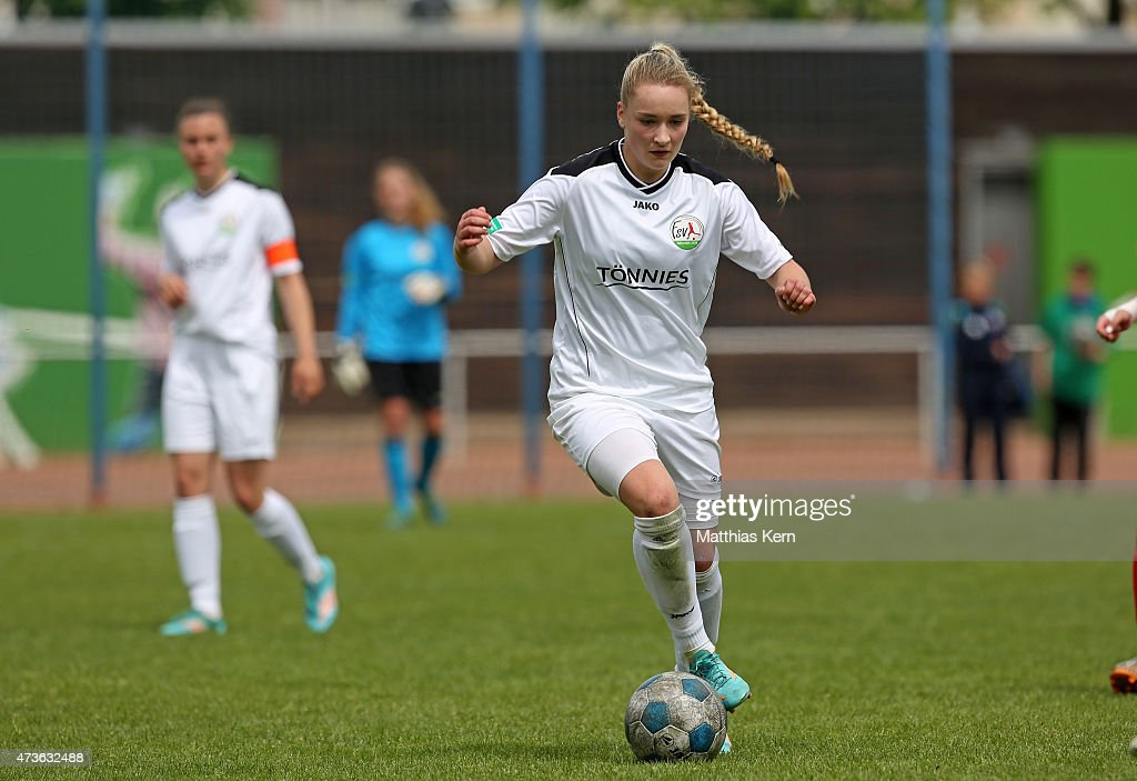Nina Lange of Guetersloh runs with the ball during the U17 Girl's Bundesliga semi final first leg match between Turbine Potsdam and FSV Guetersloh...