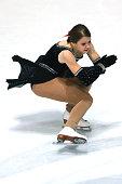 Nina Letenayova of Slovakia skates during the junior ladies short dance of the ISU Junior Grand Prix at Dom Sportova on October 8 2015 in Zagreb...