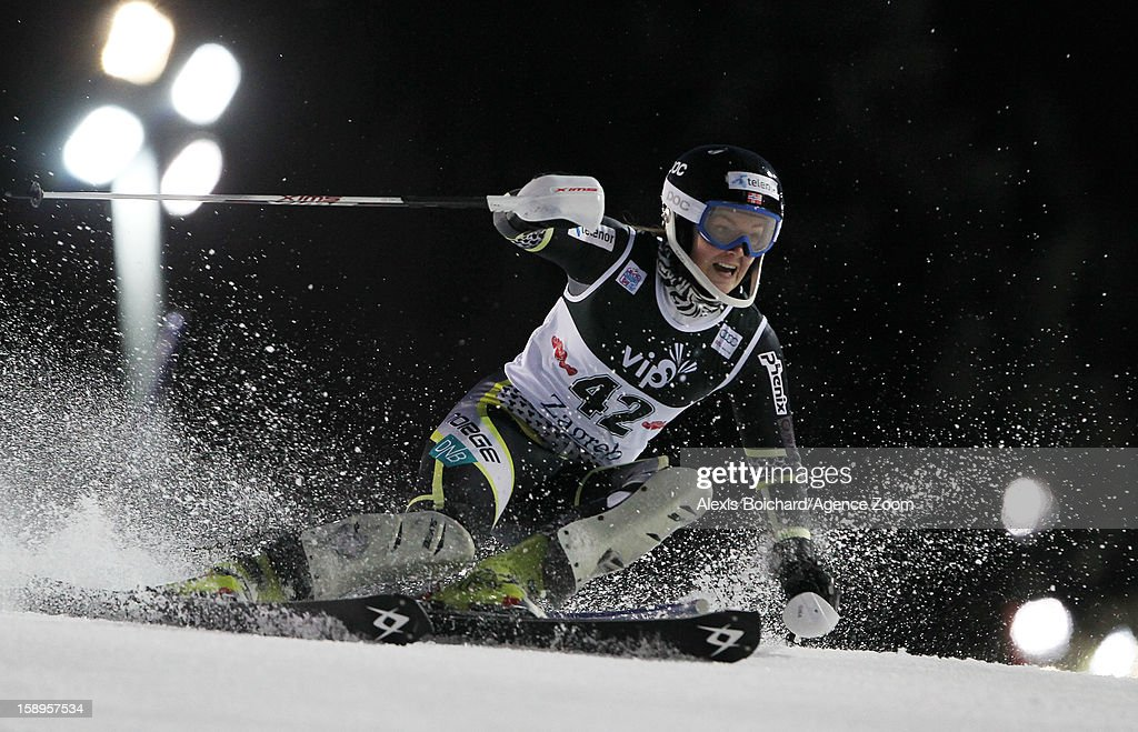 <a gi-track='captionPersonalityLinkClicked' href=/galleries/search?phrase=Nina+Loeseth&family=editorial&specificpeople=4157062 ng-click='$event.stopPropagation()'>Nina Loeseth</a> of Norway competes during the Audi FIS Alpine Ski World Cup Women's Slalom on January 4, 2013 in Zagreb, Croatia.