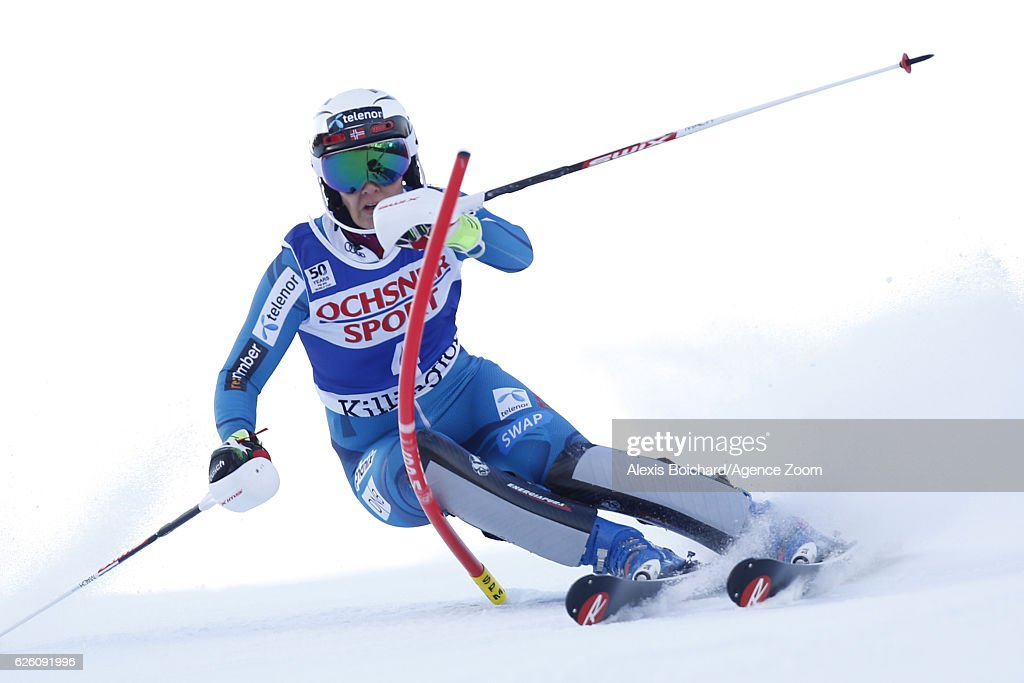Nina Loeseth of Norway competes during the Audi FIS Alpine Ski World Cup Women's Slalom on November 27, 2016 in Killington, Vermont.