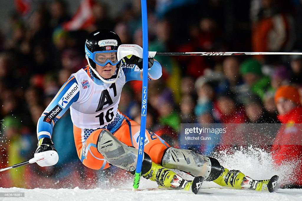 <a gi-track='captionPersonalityLinkClicked' href=/galleries/search?phrase=Nina+Loeseth&family=editorial&specificpeople=4157062 ng-click='$event.stopPropagation()'>Nina Loeseth</a> of Norway competes during the FIS Alpine Ski World Cup Women's race on January 14, 2014 in Flachau, Austria.