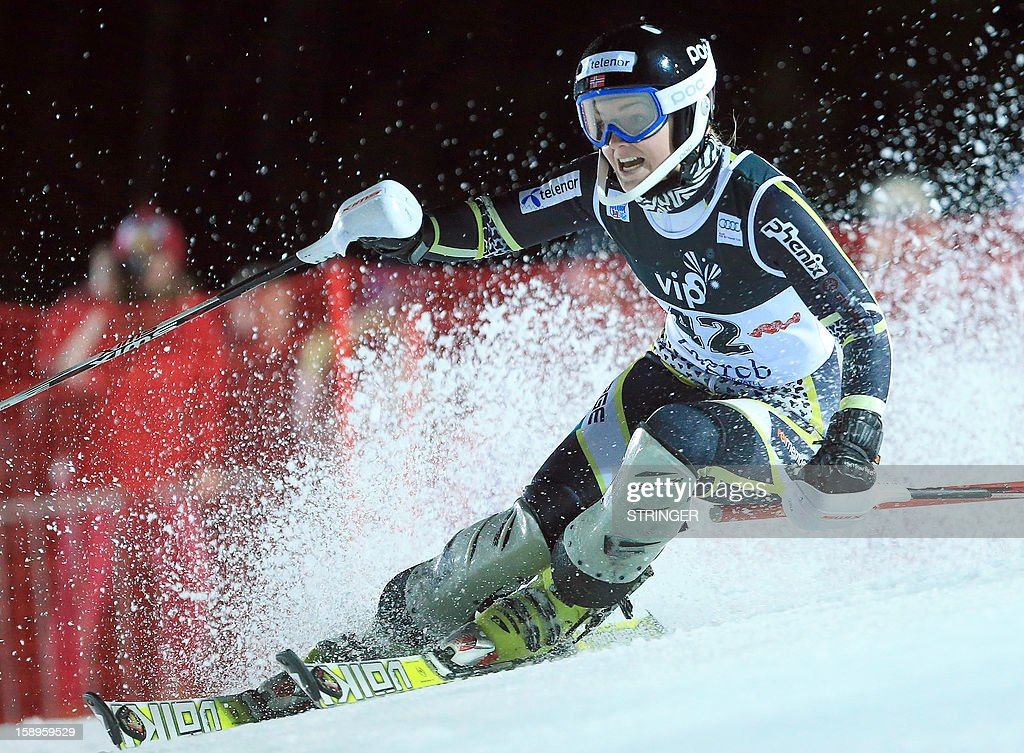 Nina Loeseth of Norway competes during the women's FIS slalom competition race in Sljeme, near Zagreb, on January 4, 2013. Loeseth placed fourth. AFP PHOTO/ Stringer