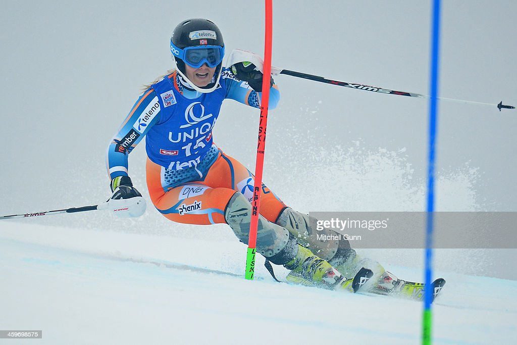 <a gi-track='captionPersonalityLinkClicked' href=/galleries/search?phrase=Nina+Loeseth&family=editorial&specificpeople=4157062 ng-click='$event.stopPropagation()'>Nina Loeseth</a> of Norway races down the course whilst competing in the FIS Alpine World Cup Slalom race on December 29, 2013 in Lienz, Austria.