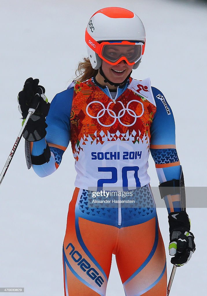 <a gi-track='captionPersonalityLinkClicked' href=/galleries/search?phrase=Nina+Loeseth&family=editorial&specificpeople=4157062 ng-click='$event.stopPropagation()'>Nina Loeseth</a> of Norway reacts after a run during the Alpine Skiing Women's Giant Slalom on day 11 of the Sochi 2014 Winter Olympics at Rosa Khutor Alpine Center on February 18, 2014 in Sochi, Russia.