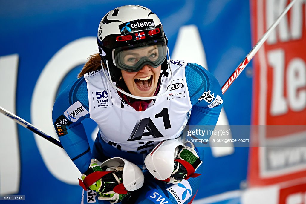 Nina Loeseth of Norway takes 2nd place during the Audi FIS Alpine Ski World Cup Women's Slalom on January 10, 2017 in Flachau, Austria