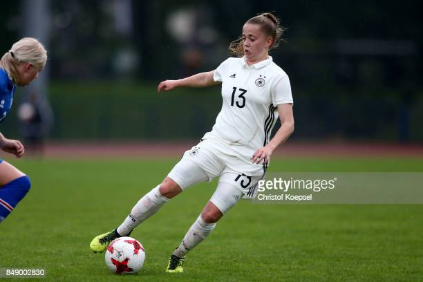 Nina Luehrssenof Germany runs with the ball during the UEFA Under19 Women's Euro Qualifier match between Germany and Iceland at Stadium Wedau III on...