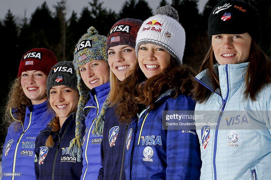 Nina Lussi, Jessica Jerome, Lindsey Van, Alissa Johnson, Abby Hughes and Sarah Hendrickson of the USA Women's Ski Jumping Team pose on December 15, 2012 in Ramsau, Austria.