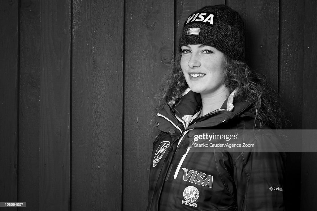 Image has been converted to black and white.) Nina Lussi of the USA Women's Ski Jumping Team poses on December 15, 2012 in Ramsau, Austria.