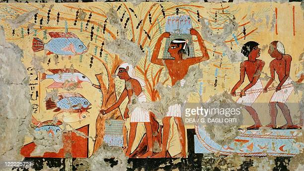 Nina M Davies 'Ancient Egyptian Painting' Chicago1936 Plate Fishermen with nets Replica of fresco from Thebes tomb of Ipouy Dynasty XIX New Kingdom