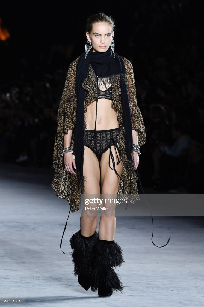 Nina Marker walks the runway during the Saint Laurent show as part of the Paris Fashion Week Womenswear Spring/Summer 2018 on September 26, 2017 in Paris, France.