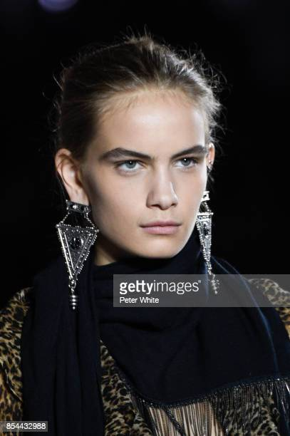 Nina Marker walks the runway during the Saint Laurent show as part of the Paris Fashion Week Womenswear Spring/Summer 2018 on September 26 2017 in...