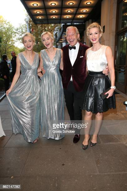Nina Meise and her twin sister Julia Meise and Jo Groebel and his girlfriend Grit Weiss during the 2oth 'Busche Gala' at The Charles Hotel on October...