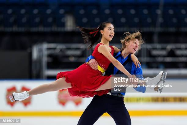 Nina Mizuki and Veniamins Volskis of Canada compete in the Junior Ice Dance Free Dance during day two of the ISU Junior Grand Prix of Figure Skating...