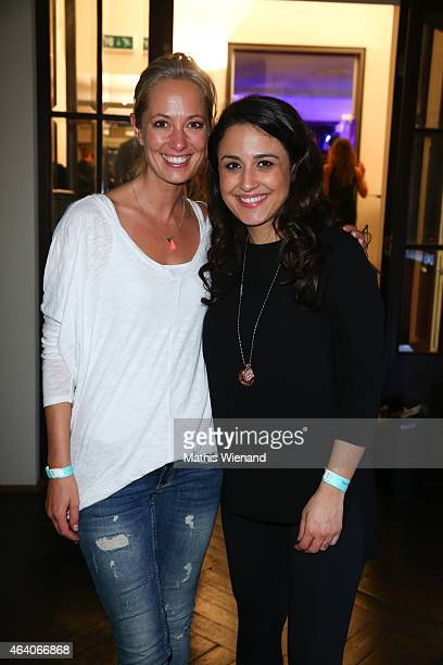 Nina Moghaddam and Angela FingerErben attend the Tom Beck Record Release Party at 'die maske' on February 21 2015 in Cologne Germany