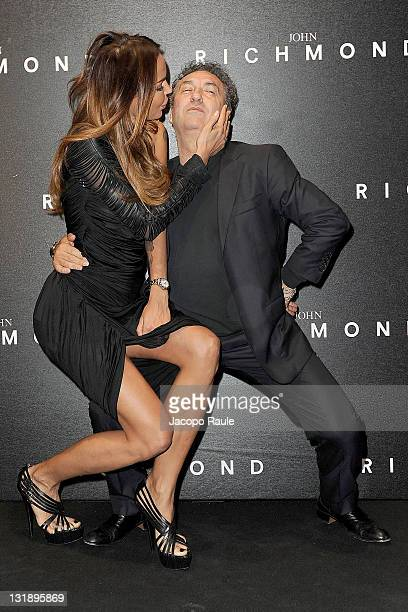 Nina Moric and Saverio Moschillo attend the John Richmond fashion show as part of Milan Fashion Week Menswear Spring/Summer 2012 on June 20 2011 in...