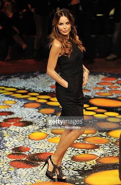 Nina Moric attends 'L'Isola Dei Famosi' Italian Tv Show on January 25 2012 in Milan Italy