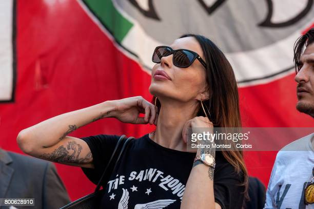 Nina Moric marches with CasaPound Italia to protest a 'Ius Soli' law on June 24 2017 in Rome Italy CasaPound Italia is protesting a 'Ius Soli' law a...