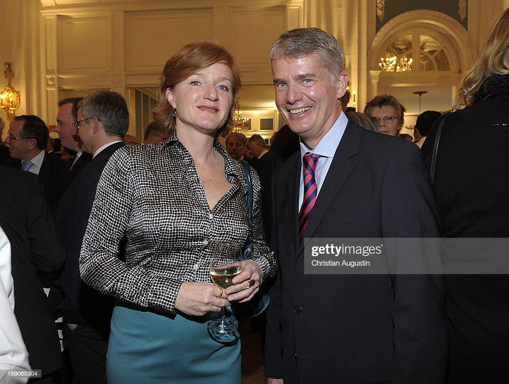 Nina Petri and Hermann Reichenspurner attend New Years's reception of Hamburger Abendblatt at Hotel Atlantic on January 7, 2013 in Hamburg, Germany.
