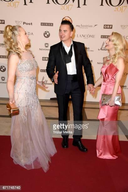 Nina Proll Andreas Gabalier and his girlfriend Silvia Schneider during the ROMY award at Hofburg Vienna on April 22 2017 in Vienna Austria