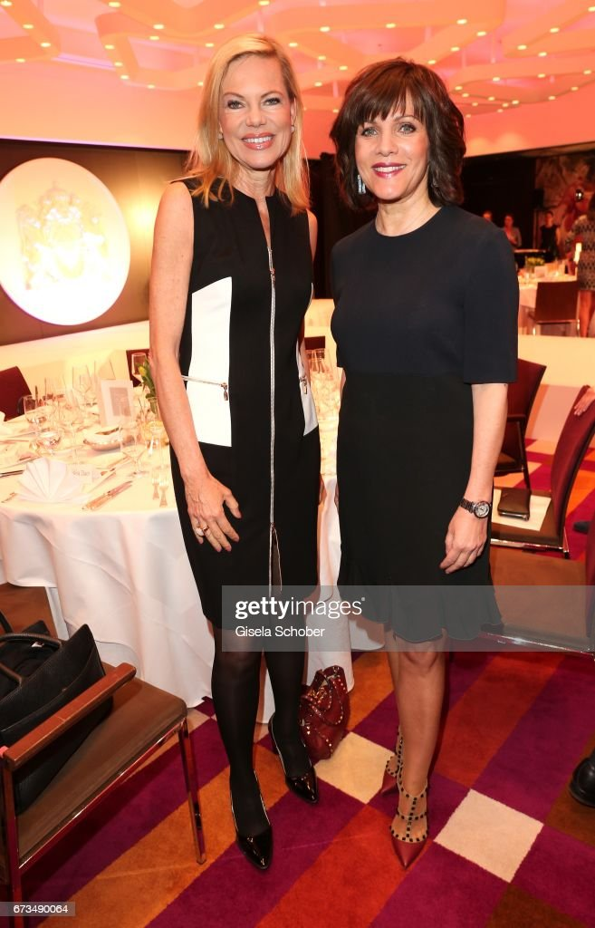 Nina Ruge and Birgit Schrowange during the Lovely Friends Fashion Lunch benefit to 'Children for a better world e.V.' at Hotel Vier Jahreszeiten on April 26, 2017 in Munich, Germany.