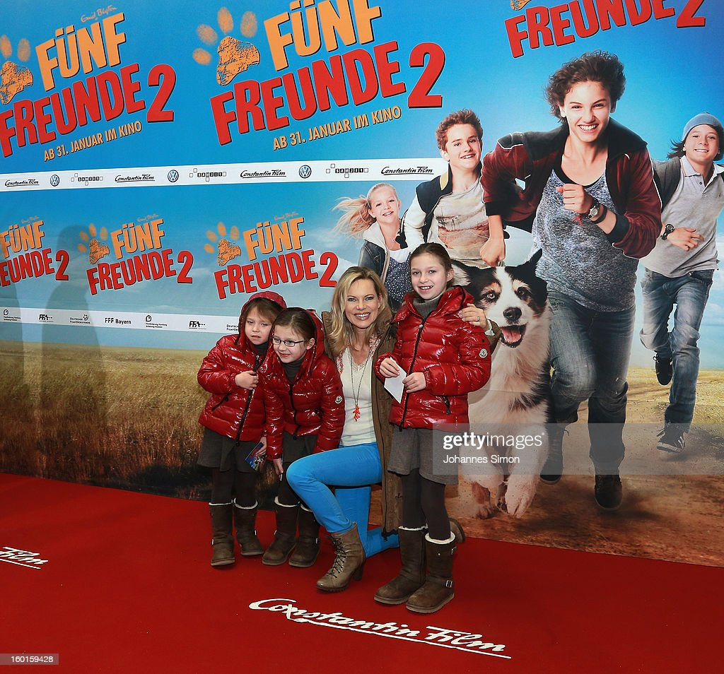 Nina Ruge and Tita (Laetitia), Rebecca and Cecilia attend the 'Fuenf Freunde 2' movie premiere at CineMaxx Cinema on January 27, 2013 in Munich, Germany.
