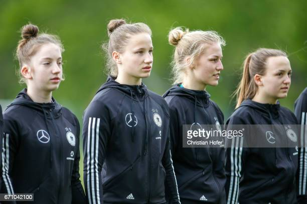 Nina Schumacher Nicole Woldmann Sophie Krall and Joana Weber of Germany line up during the national anthem prior to the Under 15 girls international...